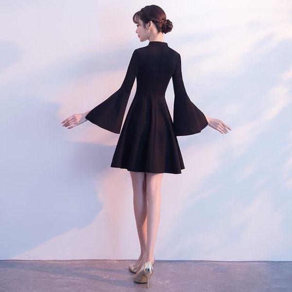 宴會晚禮服2018新款夏季黑色短款顯瘦主持名媛洋裝小禮服連身裙女