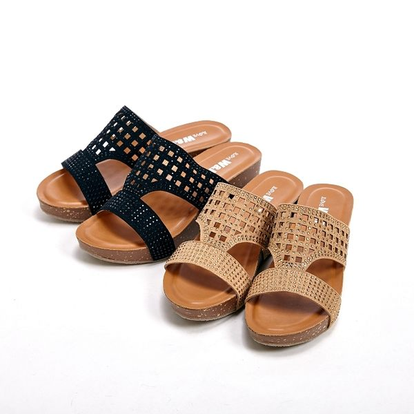 【W&M】格紋雕花 直套式拖鞋女鞋-金(另有黑)