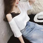 夏季女裝韓范蕾絲拼接V領上衣露肩白色半截袖T恤