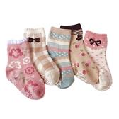 (5雙一組) 粉咖鄉村風防滑膠點中筒襪 中短襪 襪子 童襪 男童 中童 小童 兒童 現貨 童裝 橘魔法