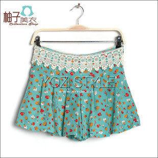 GE016-014裝新品日系時尚女裝碎花蕾絲雪紡綢裙褲
