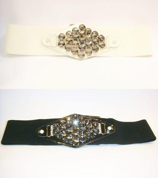 女腰帶   寬版伸縮 水晶菱形環扣 ( 黑、白 )