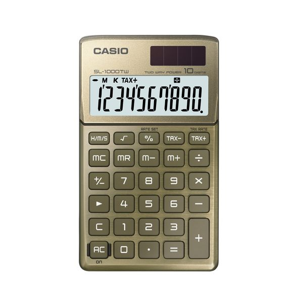 CASIO 攜帶型Stylish系列10位數計算機SL-1000TW-GD