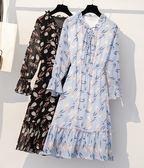 時尚休閒連身裙XL-5XL秋裝大碼女裝胖MM顯瘦百搭雪紡印花長袖連衣裙R007-7008
