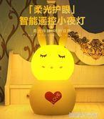 小夜燈寶寶喂奶新生嬰兒哺乳柔光兔子燈具遙控月子床頭夜光燈
