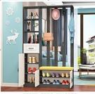 屏風進門隔斷柜鞋柜一體間廳柜客廳裝飾置物架玄關柜 YXS新年禮物