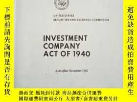 二手書博民逛書店INVESTMENT罕見COMPANY ACT OF 1940Y