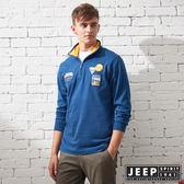 【JEEP】探險世界拉鍊立領長袖POLO衫 (海洋藍)
