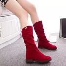 秋冬新款長靴磨砂坡跟長筒靴絨面內增高平底高筒靴中筒女靴子