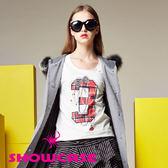【SHOWCASE】個性格紋3印花條紋袖擺長袖棉T(白)