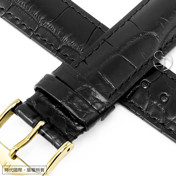 【台南 時代鐘錶 海奕施 HIRSCH】鱷魚皮錶帶 Gen. Alligator L 黑色 附工具 10220759 優雅絲質光澤