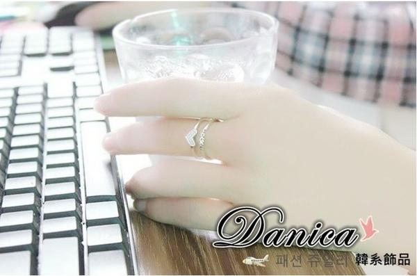 戒指 現貨 正韓時尚氣質甜美微鑲閃亮雙排愛戀水晶開口戒指(2色)S5175 批發價 Danica 韓系飾品