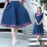 2020春夏中國風繡花女士棉麻大擺裙 中長半身裙民族風亞麻裙子 十一週年降價