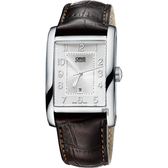 ORIS 豪利時 Rectangular 日期顯示機械手錶-銀x咖啡/30mm 0156176934061-0752220FC