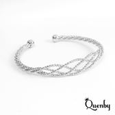 Quenby 極簡編織花漾手環/配件-銀色