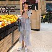 春裝2019款女裝韓版圓領短袖長款不規則網紗拼接T恤連身裙長裙子『韓女王』