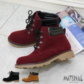 短靴 絨布4孔綁帶短筒馬汀靴 MA女鞋 T1077