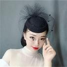 新娘頭飾復古面紗飾品網紗羽毛花朵小禮帽發夾發飾貝雷帽發箍 完美情人