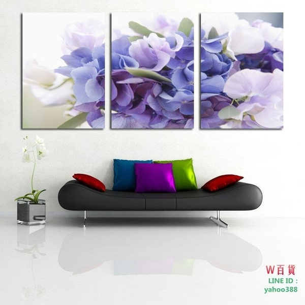 紫色花卉 三聯畫 客廳裝飾畫 無框畫 板畫 壁畫 簡約花語(W108)