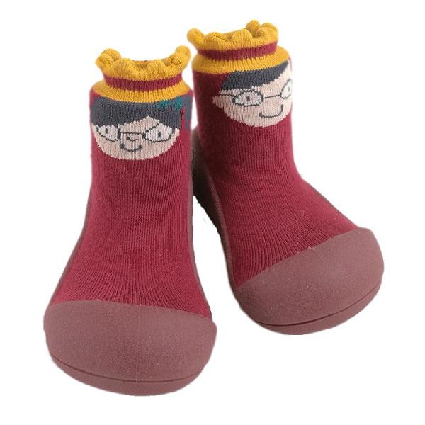 韓國 Attipas 快樂腳襪型學步鞋-娃娃紅