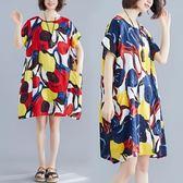 洋裝 連身裙抽象彩繪墨染印花中裙子百搭寬鬆顯瘦棉麻短袖連衣裙女
