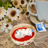 【貓粉選物】美夢成真蘇打貓療癒小擺飾筷架紙鎮筆枕健康藍色招財貓高2CM 桌上開運擺飾