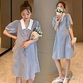 孕婦裝 MIMI別走【P521230】恬淡雅緻 繡花翻領襯衫裙 孕婦裙 洋裝