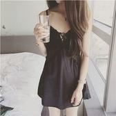 歐美性感仿真絲綢質吊帶睡裙黑色夏季休閒蕾絲鏤空誘惑情趣睡衣女十月週年慶購598享85折