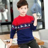 童裝男童毛衣套頭中大童線衣純棉加厚加絨秋冬韓版兒童針織衫水晶鞋坊