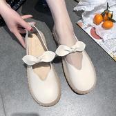 小皮鞋女 百搭蝴蝶結圓頭軟底豆豆鞋娃娃鞋單鞋‧衣雅
