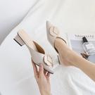 包頭半拖鞋女2021新款時尚外穿百搭中跟粗跟懶人穆勒鞋尖頭涼拖鞋 伊蘿 618狂歡