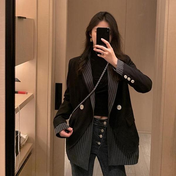西裝外套女公子2021春季韓版條紋拼接假兩件小眾設計感雙排扣上衣 快速出貨 快速出貨