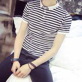 夏季男士翻領短袖T恤男韓版修身條紋上衣POLO衫半袖海魂衫體恤潮