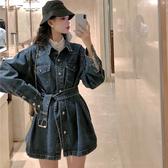 牛仔外套 港味牛仔外套女秋冬季新款寬鬆繫帶收腰顯瘦中長款長袖上衣潮