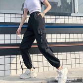 國潮工裝褲女酷帥氣街頭束腳 hiphop褲子女寬鬆bf春秋新款休閒『韓女王』