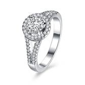 925純銀鑲鑽戒指-簡約圓形閃耀奢華生日情人節禮物女飾品73kz83[時尚巴黎]