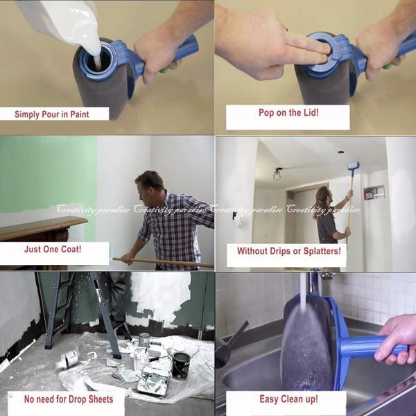 【油漆刷六件組】新款可填充油漆滾筒刷邊角滾筒牆角刷油漆杯托盤三段式鋁管6件套油漆粉刷神器