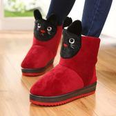 冬季高筒棉拖鞋全包跟家居靴女毛毛絨棉鞋可愛卡通加厚底居家保暖