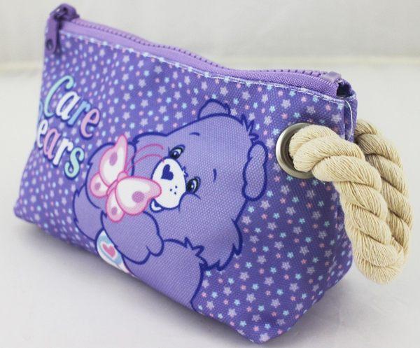 【卡漫城】 七折出清 彩虹熊 紫色  麻繩 化妝包 ㊣版  Care Bears 愛心熊 帆布 拉鍊 鉛筆袋 萬用包