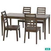 ◎實木餐桌椅五件組 VIK165 DBR NITORI宜得利家居