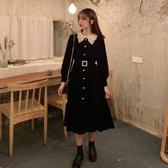 襯衫裙 2020新款赫本風小黑裙收腰顯瘦氣質女神范洋裝女秋季黑色長裙子-米蘭街頭