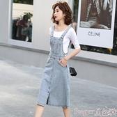 牛仔吊帶裙 吊帶牛仔裙夏季女裝潮2021年新款時尚連身裙洋氣減齡背帶裙子 suger 新品