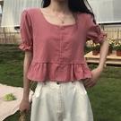 冬季2020年新款韓版襯衣法式方領短袖襯衫女設計感小眾bm短款上衣 向日葵
