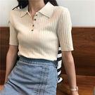 ZUCAS~(RF-4791)復古豎紋修身polo上衣春裝2019新款女裝學生百搭短袖打底針織T恤