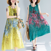 文藝洋裝 洋氣時尚寬鬆大碼沙灘裙文藝減齡小清新印花無袖連衣裙女夏季新款