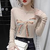長袖T恤女2020秋新款時尚釘珠亮片蝴蝶結刺繡修身打底針織衫上衣 Korea時尚記