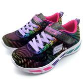 《7+1童鞋》中童 SKECHERS 10959L/BKMT 輕量透氣 彩紅亮面 電燈鞋 運動鞋 B981 黑色