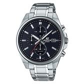 CASIO EDIFICE 三針三眼日期顯示不鏽鋼腕錶(EFV-610D-1A)-黑x48mm