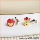 『坂井.亞希子』蘋果偷咬一口搞怪不對稱造型耳環