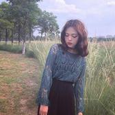 秋季鏤空套頭喇叭袖毛衣女復古針織衫072006#KT1F-089依佳衣